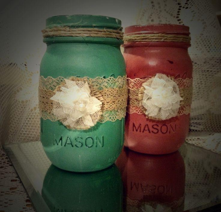 Painted mason jar wedding