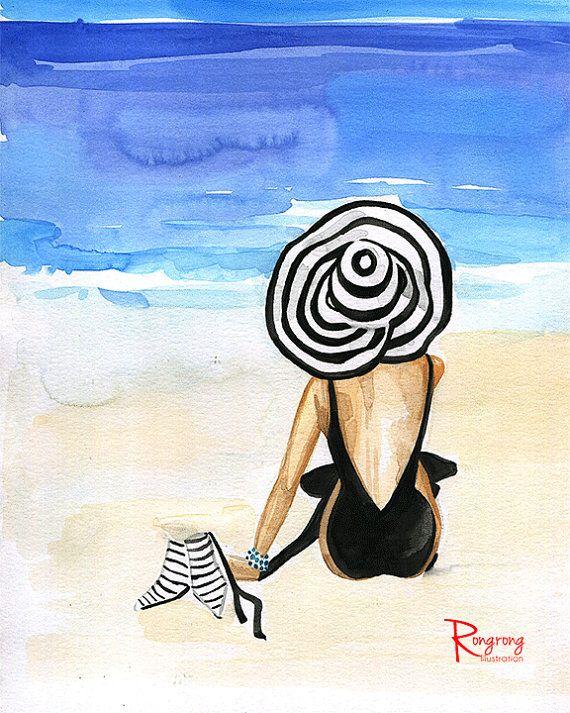 Spiaggia arte bellezza, arte muro Beach, illustrazione di moda, moda parete arte, arte della parete di bellezza, regalo per lei, Spogliatoio arte, arte Girly