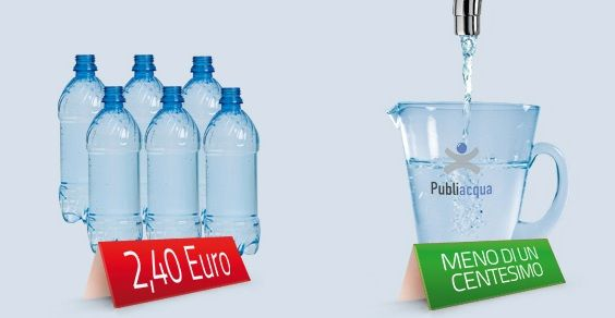 sono favorevole e consumo l' acqua del rubinetto perla ritengo più salutare più controllata ed economica rispetto a quella in bottiglia  Considero dentor di me poi che ad ogni litro che bevo ho risparmiato lo smaltimento e il riciclo di una bottiglia di plastica