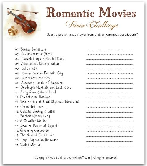 Romantic Movies Trivia Challenge - Guess the romantic movies from their synonymous titles.
