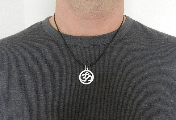 Men's Necklace OM antiqued silver tone Silver Om by EnergyCircle