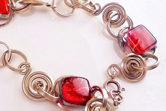 Red glass and silver necklaceartisan jewel by Dartisanglass