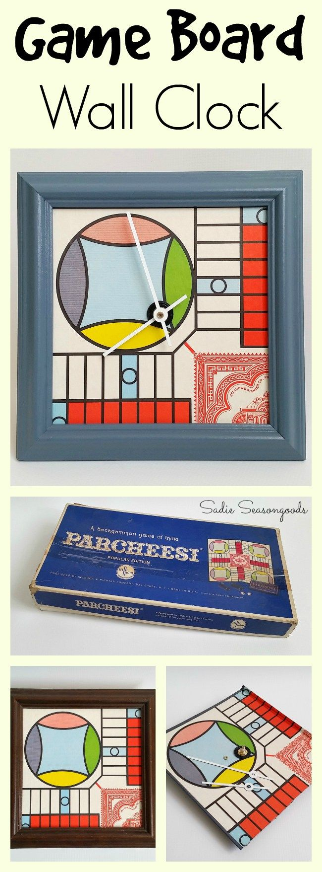 I had a vintage 1964 Parcheesi game board that had a little bit of water damage on it...so I salvaged what I could and upcycled it into a funky, decorative wall clock. Perfect repurposing craft project to add color to any room! #SadieSeasongoods