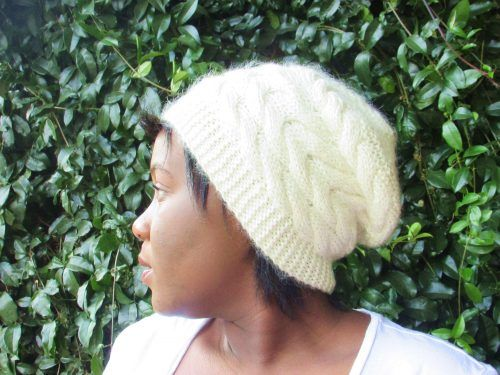Strawberry Cabled Slouchy Beanie Knitting Pattern