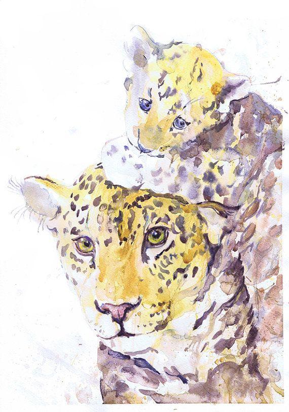 Jaguar - Panther- Leopard - mother and baby- watercolor - painting - illustration - baby jaguar - nursery - art print - safari – wildcats Jaguar with cub