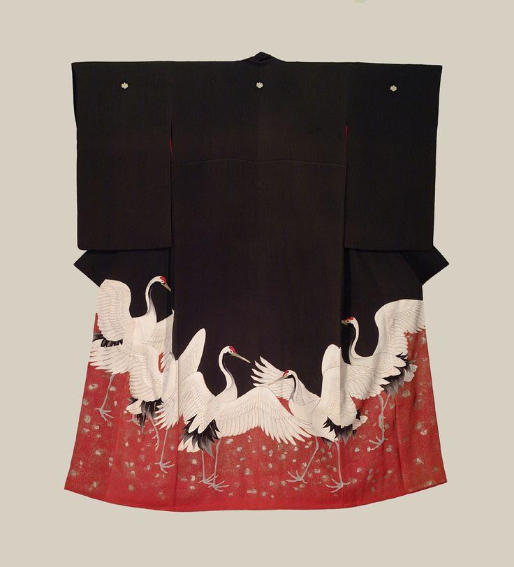 Standing crane Meiji tomesode, The Kimono Gallery