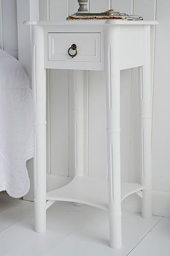 White Cottage Furniture And Interiors Uk New England Narrow Bedside Table