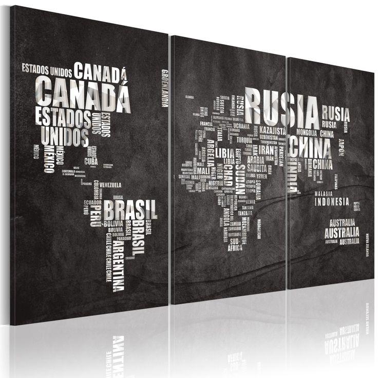 Obraz - Mapa świata (Język hiszpański) - tryptyk