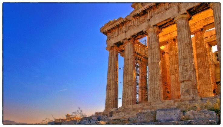 The early morning sun filters through the Parthenon on the Athenian Acropolis, Athens, Greece.