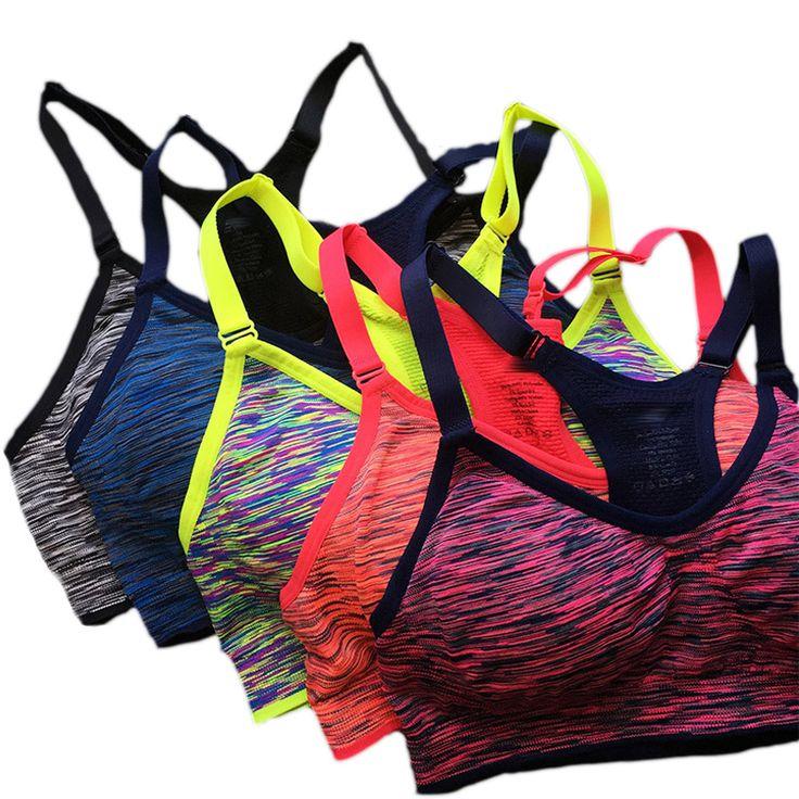 VEQKING Shakeproof Quick Dry Sports Bra,Women Padded Wirefree Adjustable Seamless Push Up Fitness Yoga Running Tops