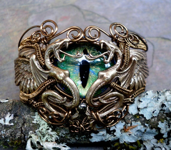 Gothic Steampunk Dragon Evil Eye Bracelet Size 6 and a half to 7 In Bronze