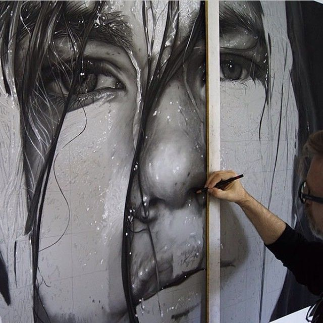 Amazing Charcoal drawing in progress by the artist @dirk_dzimirsky