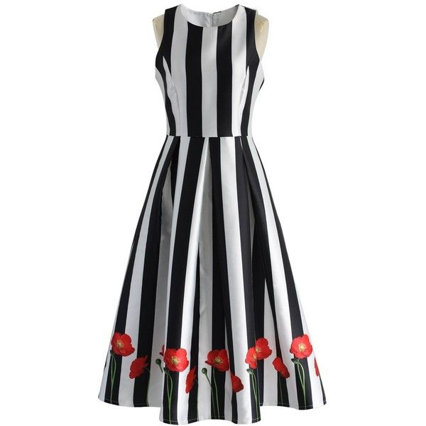 Chicwish Poppy on Stripe Prom Dress ($62) ❤ liked on Polyvore featuring dresses, black, blossom dress, boat neck prom dress, prom dresses, poppy dress and bateau neckline dress