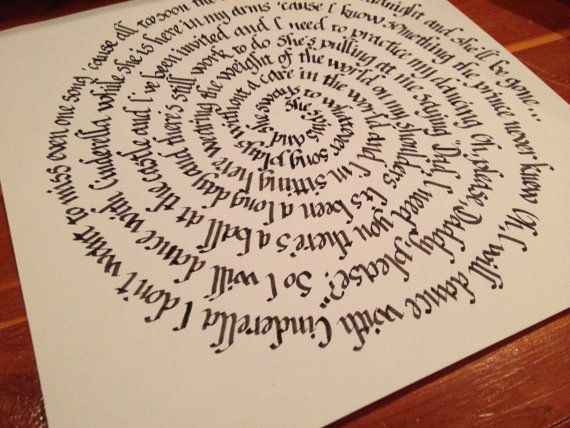 Cinderella Lyrics in Calligraphy