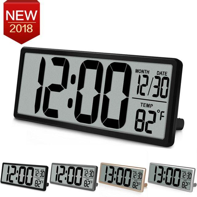 Led Alarm Clocks Modern Snooze Calendar Acrylic Large Jumbo Digital Desk New
