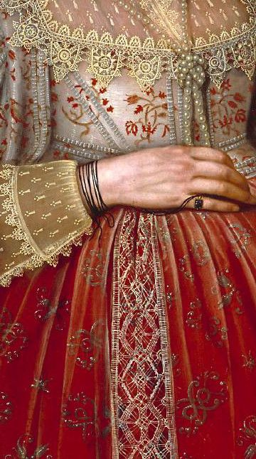 Marcus Gheeraerts II, Portrait of a Woman in Red, 1620 (detail)