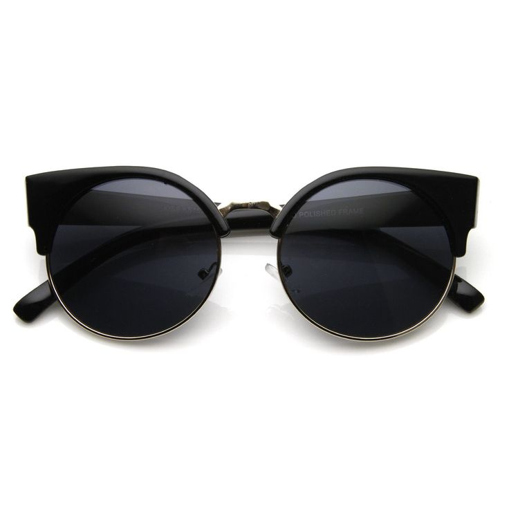 zeroUV | Vintage Inspired Round Circle Cat Eye Sunglasses 8785 in Shiny Black Gold