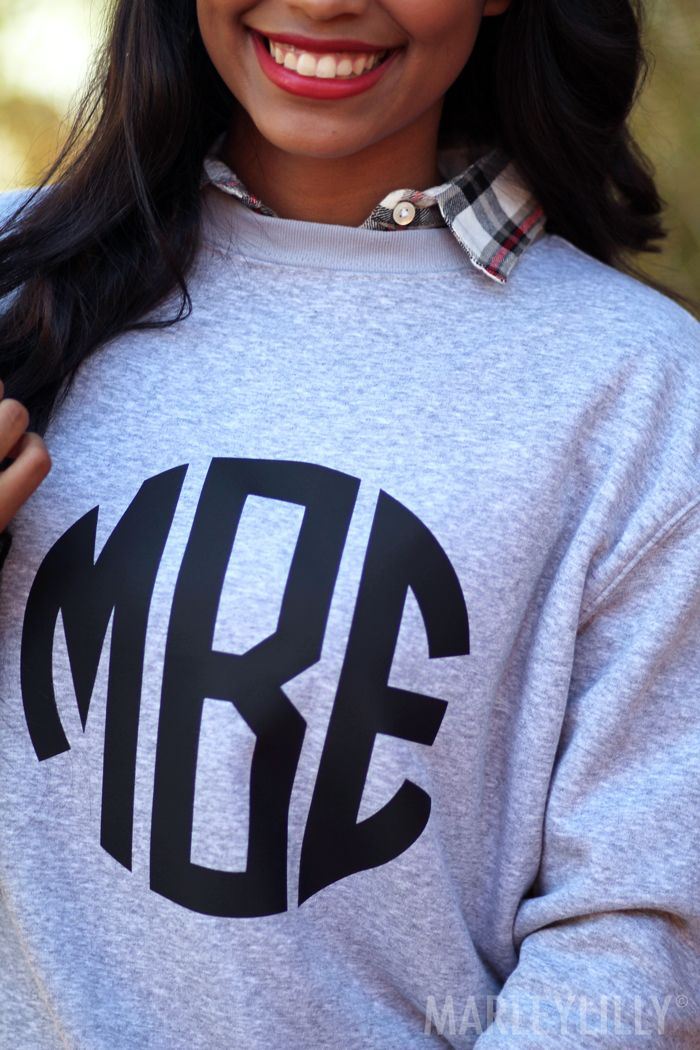 Make it personal. Monogrammed Crewneck Sweatshirts from Marleylilly!