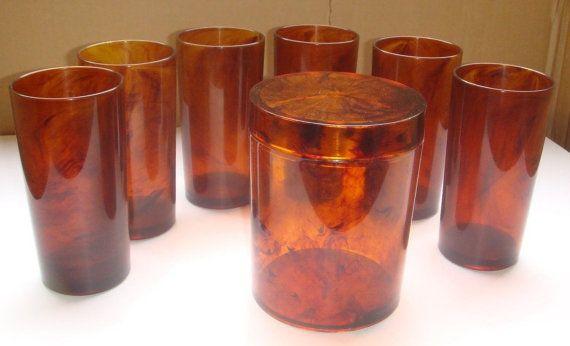 """6 verres  H.J. STOTTER N.Y. USA, 14 cm + une boite """"Made in France"""", décor écaille de tortue...... gobelet, tumbler, plastic, acrylic."""