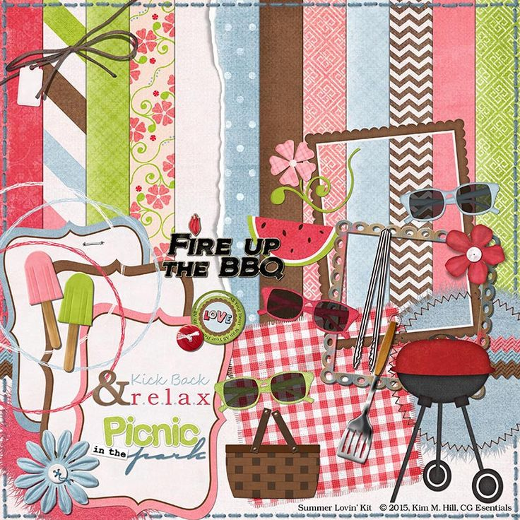 "Picnic Digital Scrapbook Kit - ""Summer Lovin"" digital scrapbook kit with BBQ, picnic basket, freeze pops for making summer scrapbook layouts by CGEssentials on Etsy https://www.etsy.com/uk/listing/235389691/picnic-digital-scrapbook-kit-summer"