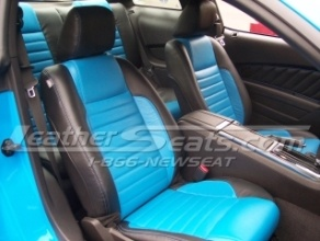 Ford Mustang Leather Seats - LeatherSeats.com. Sweet Grabber Blue Mustang interior