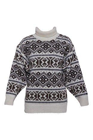 Varm tyk islandsk / norsk sweater. 100% uld striktrøje ISLÆNDER. Tilbud. Stor i str. Brun/hvid fra Samsø Nature 599,-  GOT IT