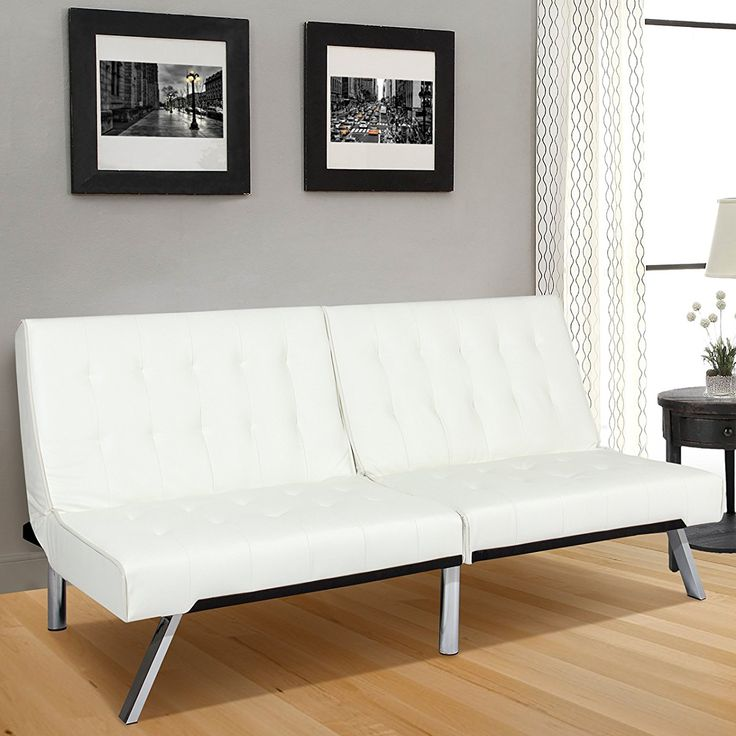 Leather Futon Sofa Bed Fold Up & Down Couch Recliner Furniture White