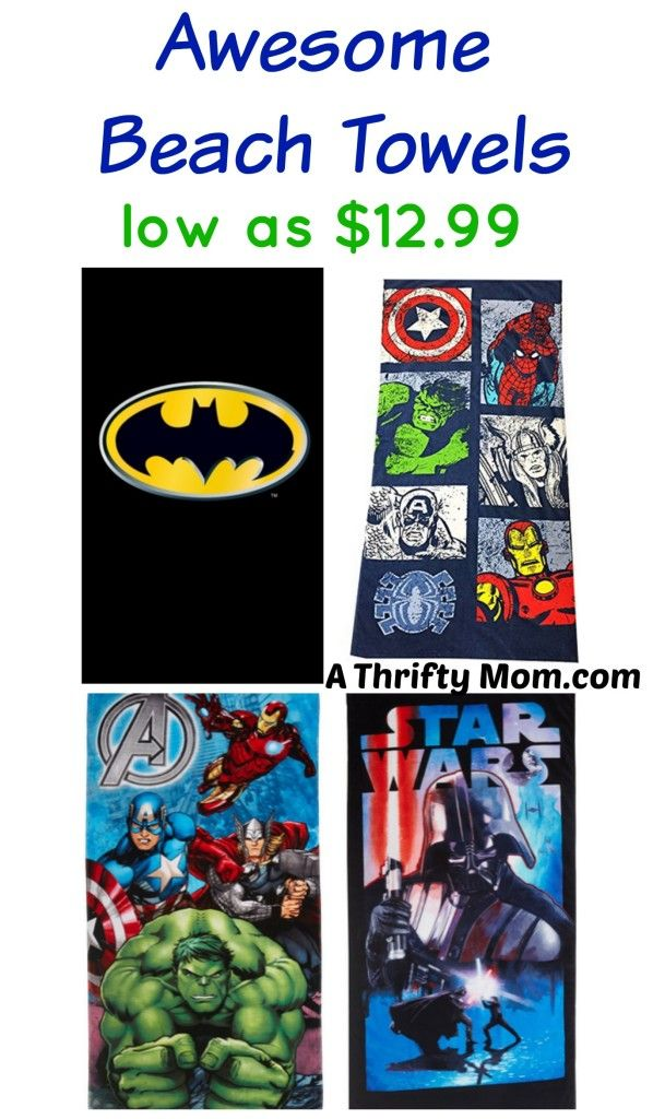 These are some cool beach towels! Superhero, batman, avengers, star wars. Awesome Beach Towels on sale