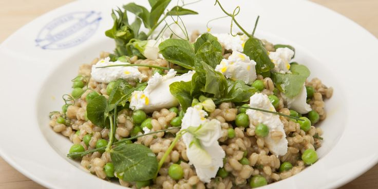 Emily Watkins presents her seasonal recipe for pearl barley barley salad, infused with fresh flavours of pea, mint and goat's cheese.