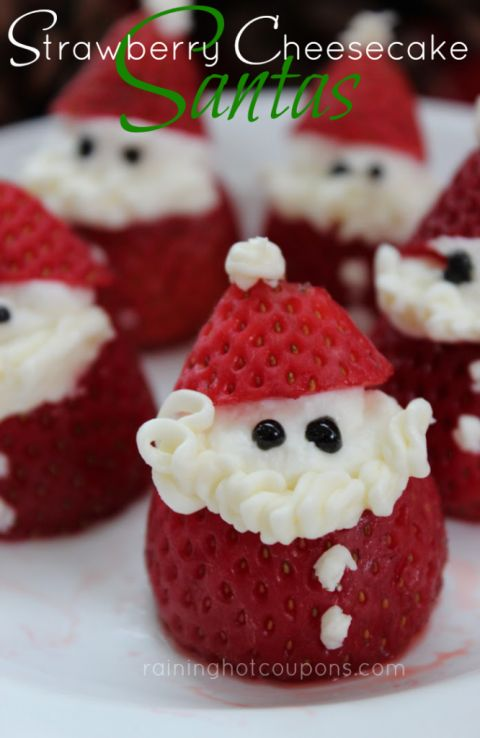 "Strawberry Cheesecake Santas: Halve strawberries and fill the split with a homemade icing before decorating the fruits as little Santas – €""they'll be too cute to pass up. Find more easy and make ahead Christmas appetizers recipes and ideas that are perfect Christmas dinner and parties here."