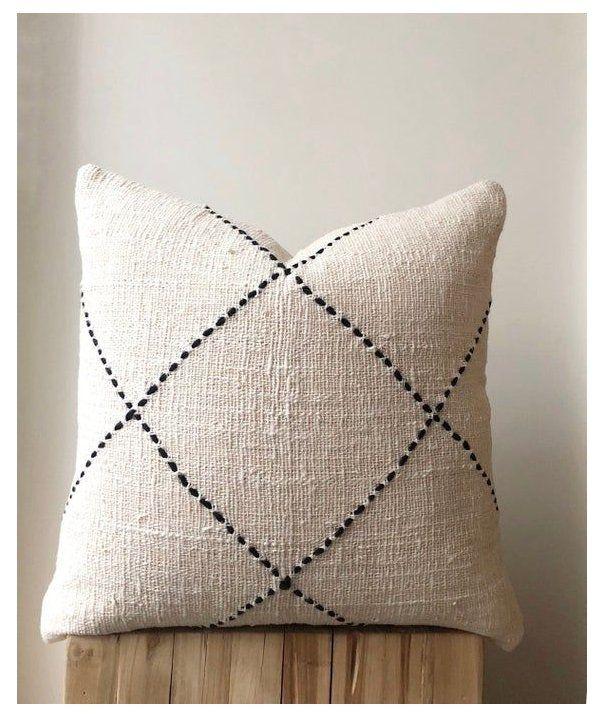 natural boho raw cotton pillow organic