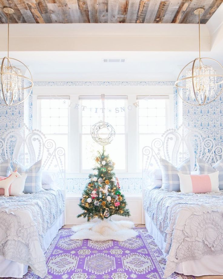 A little girl's winter dreams | Addison's Wonderland | Christmas home decor | Wallpaper: Nethercote (Blue) designed by Julia Rothman for Hygge & West