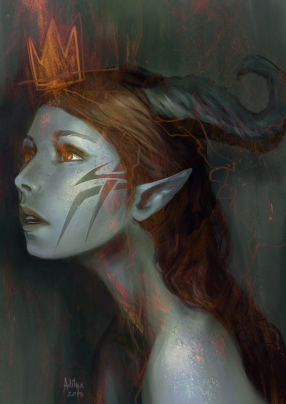 aditya777 from DeviantArt. The reds and oranges are iridescent over the cool greens and greys.
