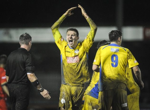 Action from King's Lynn Town v Ilkeston at The Walks - Dan Quigley celebrates Lynn's second. Picture: Matthew Usher.