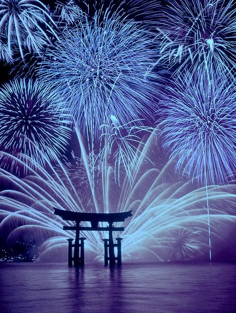 Fireworks at Miyajima, Japan