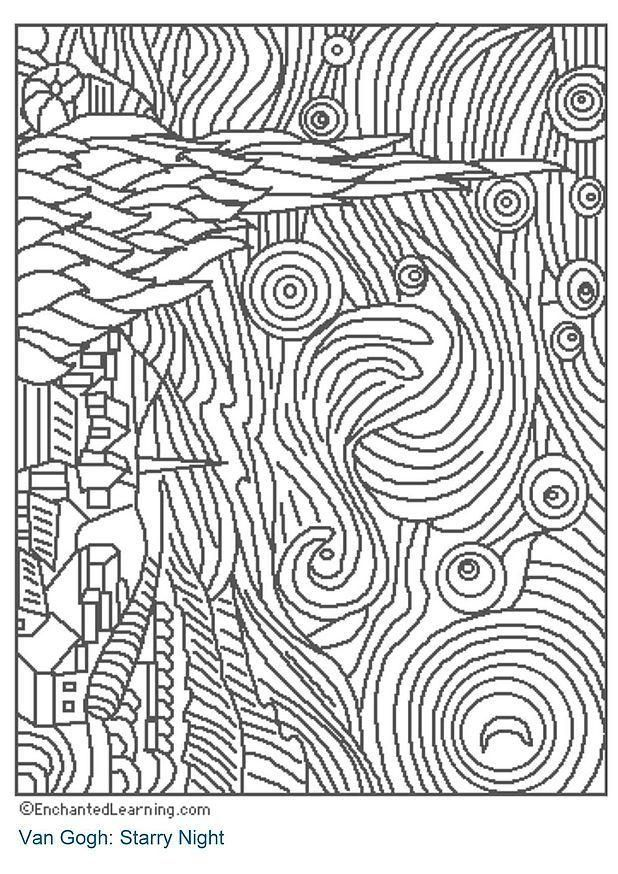 38 Best Images About Coloring Page Designs On Pinterest Starry Coloring Page Gogh