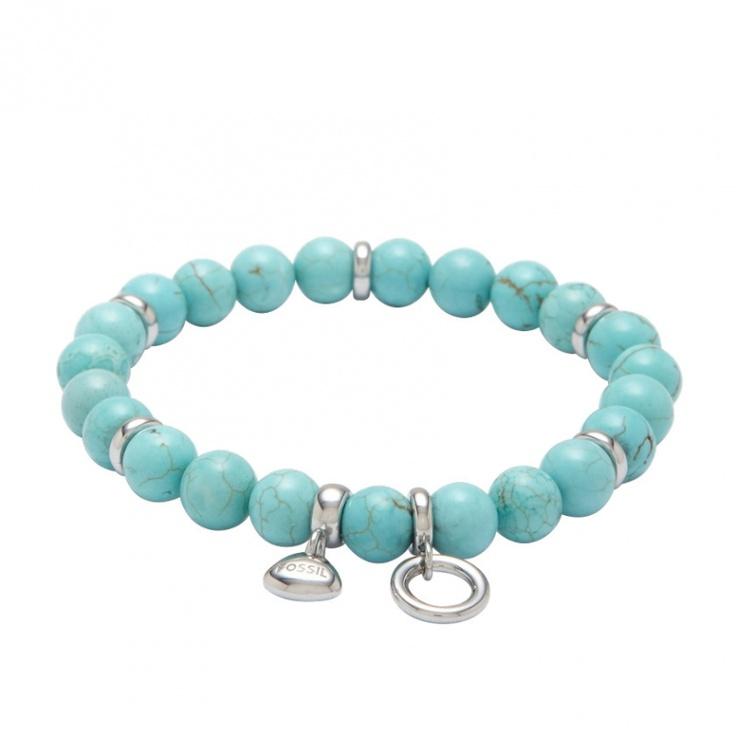 Fossil Armband * JF87607 * Damenarmband Stretch Lady Charm Perlen Türkis #summer #sea #blue #charm