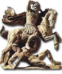 Alexander in battle  -  from the monument taranto 3rd century BCE Museo Archaeologico Nationale