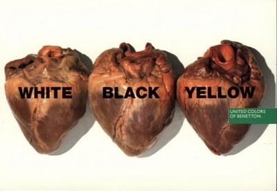 ad-benetton-racism-white-black-yellow-hearts #UnitedColorsOfBenetton