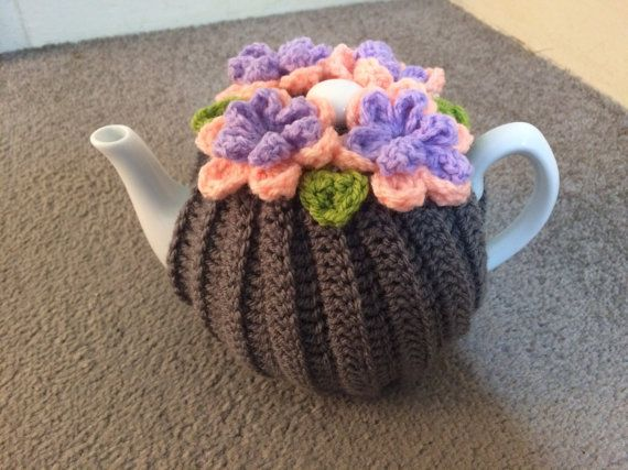 Grey flowered Tea cosy for a medium or large by SpecialHandmade444