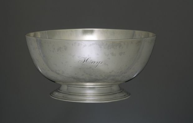 Silver bowl, c. 1795, Paul Revere II (1734-1818), Boston, Massachusetts - This bowl was made for the prominent Boston merchant Moses Michael Hays (1738–1808). This bowl may have been made as a presentation to Hays, perhaps in appreciation for his service to the Masonic order. Revere's daybooks, which survive for the period 1761–97, include few orders for bowls of this type. Its form resembles the Sons of Liberty punch bowl made by Revere in 1768, but it is closer in size to a standard slop…
