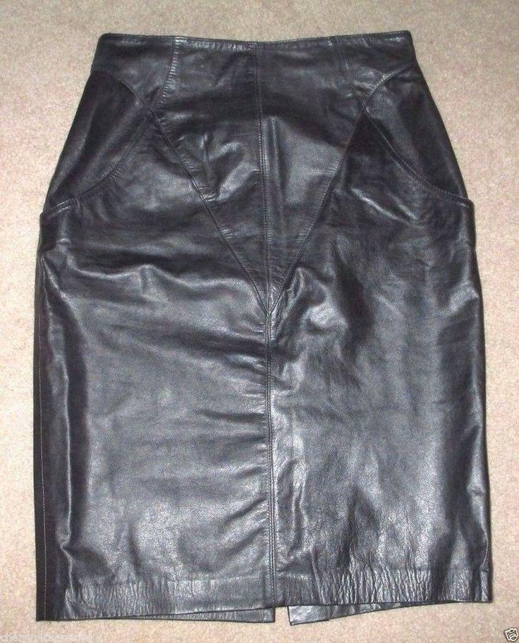 Avanti Leather Skirt Size 13 14 Vintage Diagonal Design Black Mid Length  #Avanti #StraightPencil