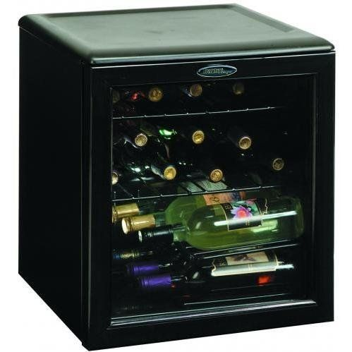 Danby DWC172BL Designer Wine Cooler by Danby. $175.52. - shatter resistant tempered glass door. Auto-cycle defrost. Scratch resistant worktop. 2 full width wire shelves. 1 staggered shelf. Reversible door hinge. Warranty: 1 year parts and labour additional 4 years parts only on sealed system. in home service unit dimensions: 17 1/2 inchw x 19 5/8 inchd x 19 11/16 inchh. Color: black. Capacity: 17 bottle 1. 8 cu. Ft.