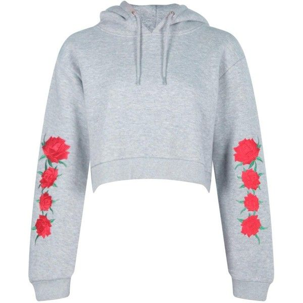 Boohoo Helen Embroidered Sleeve Hoody   Boohoo ($17) ❤ liked on Polyvore featuring tops, hoodies, flat top, hooded sweatshirt, hooded pullover, embroidered top and sleeve top