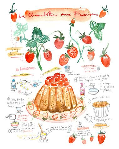 Strawberry cake recipe print - Charlotte russe poster - 8X10 French Kitchen decor - Food art - Red Watercolor illustration