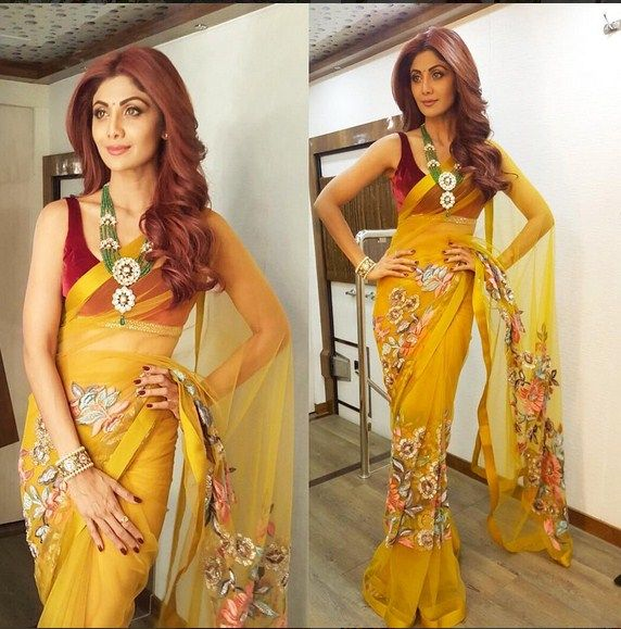 Shilpa Shetty In An Embroidered Sari.For This Sari Mial Us At contact@ladyselection.com