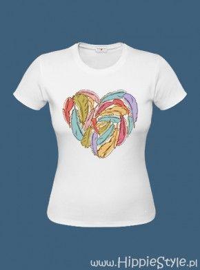 koszulka T-shirt biała SERCE z piór