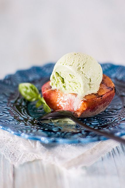 Imene's PASSION: Grilled Peaches with Basil Ice Cream and Pine Nut Crocante
