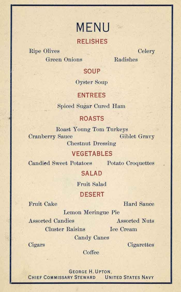 Christmas dinner menu ideas uss oregon 1917 christmas dinner menu holiday menus from ship to - Christmas menu pinterest ...