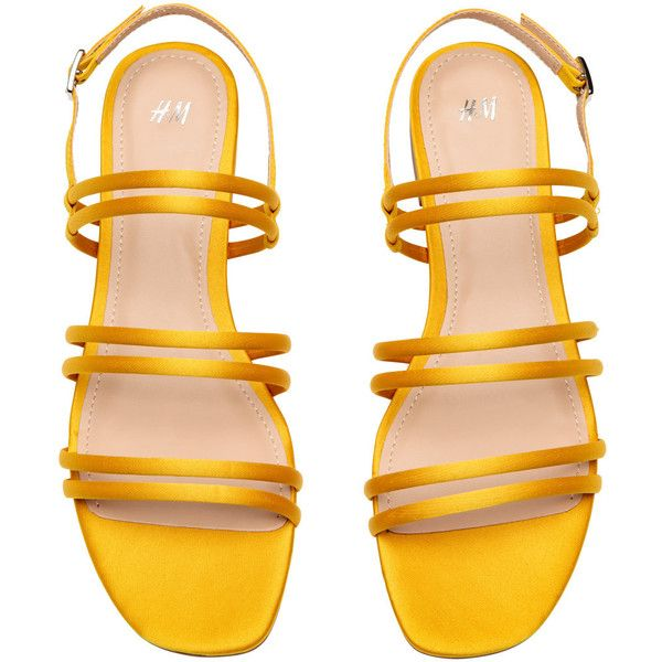 Sandals $24.99 (£19) ❤ liked on Polyvore featuring shoes, sandals, yellow satin shoes, yellow shoes, adjustable strap sandals, rubber sole shoes and yellow sandals
